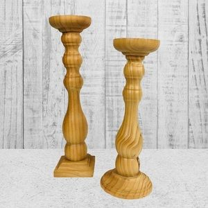 Wooden Candle Holders Set of 2 New